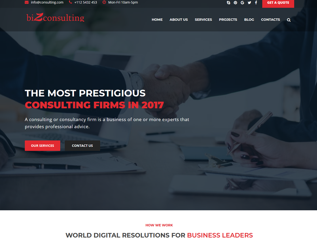 biZconsulting - Consulting & Business Wordpress Free Theme