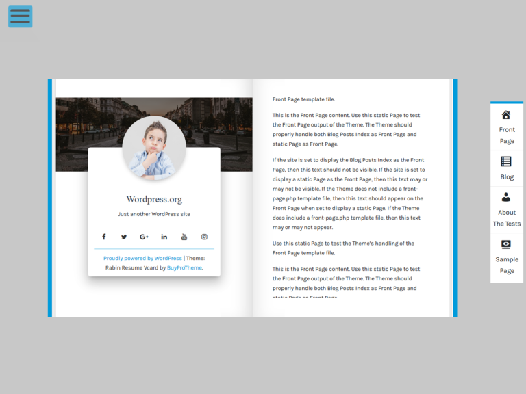 Rabin Resume Vcard WordPress Premium Profile Theme