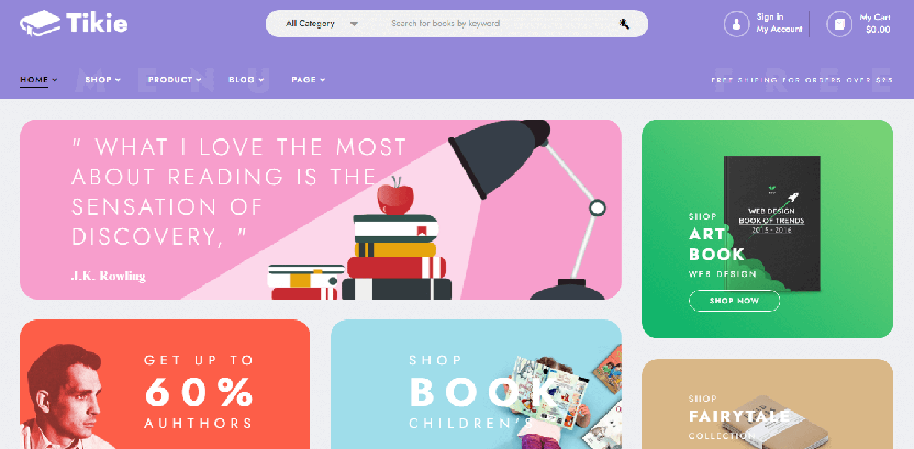 Tikie - bookstore WordPress theme